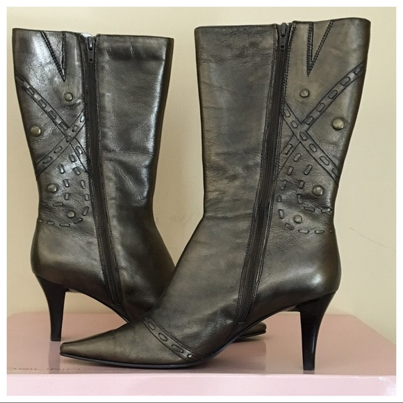 dca58b43e96 BANDOLINO Calista Mid-calf Leather Boot Bronze 8.5